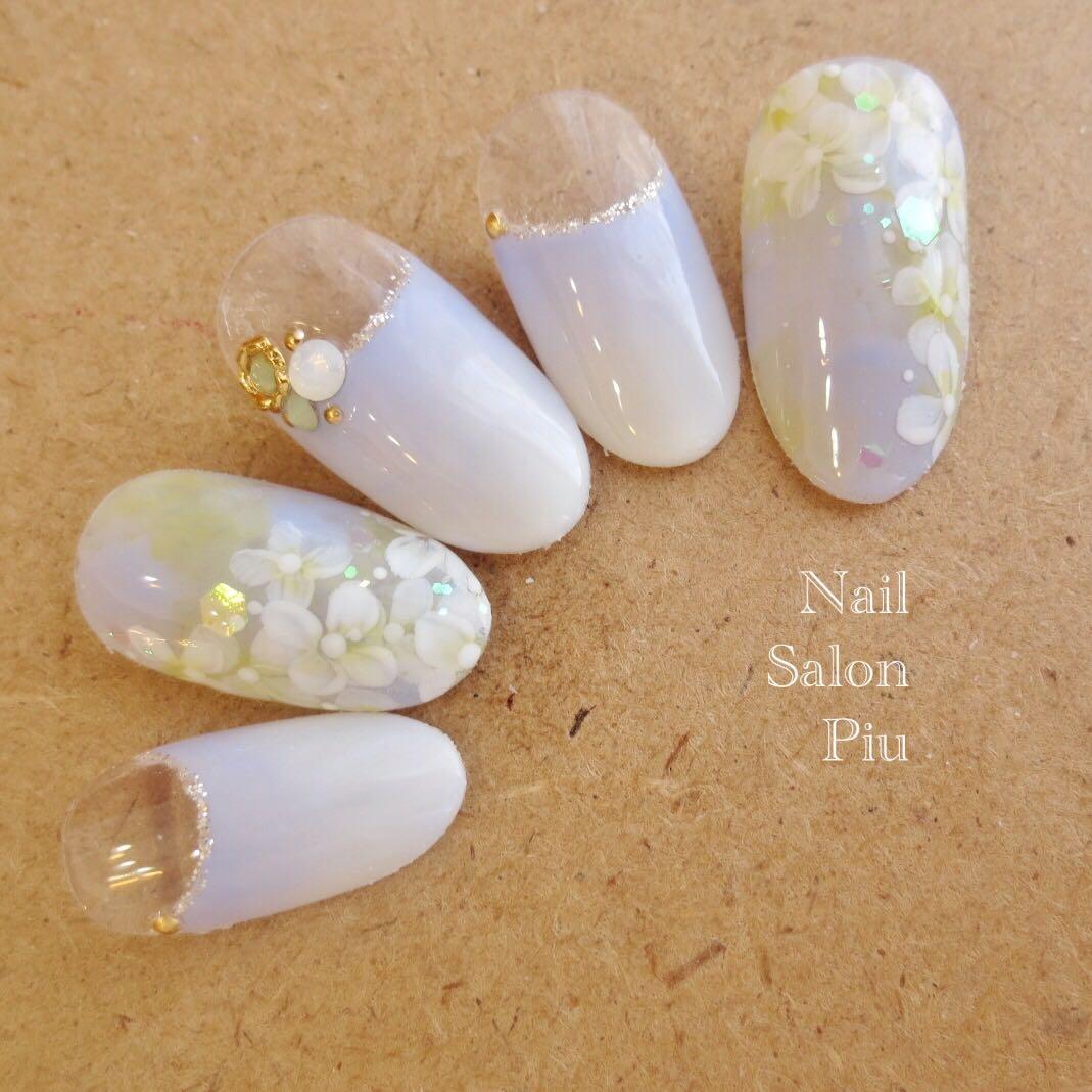 Nail Salon Piuさんの写真。テーマは『紫陽花ネイル、梅雨ネイル、フラワーネイル』