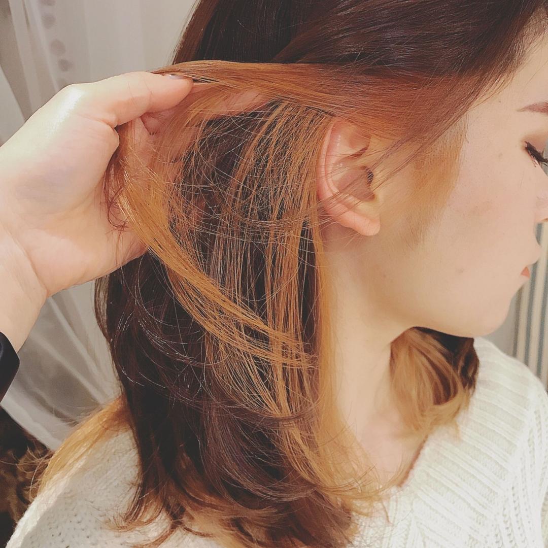浦川 由起江さんのヘアスタイルの写真。テーマは『インナーカラー、アプリコット、ブリーチカラー、プライベートサロン、nanon』