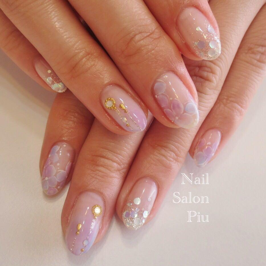 Nail Salon Piuさんの写真。テーマは『紫陽花ネイル、梅雨ネイル』
