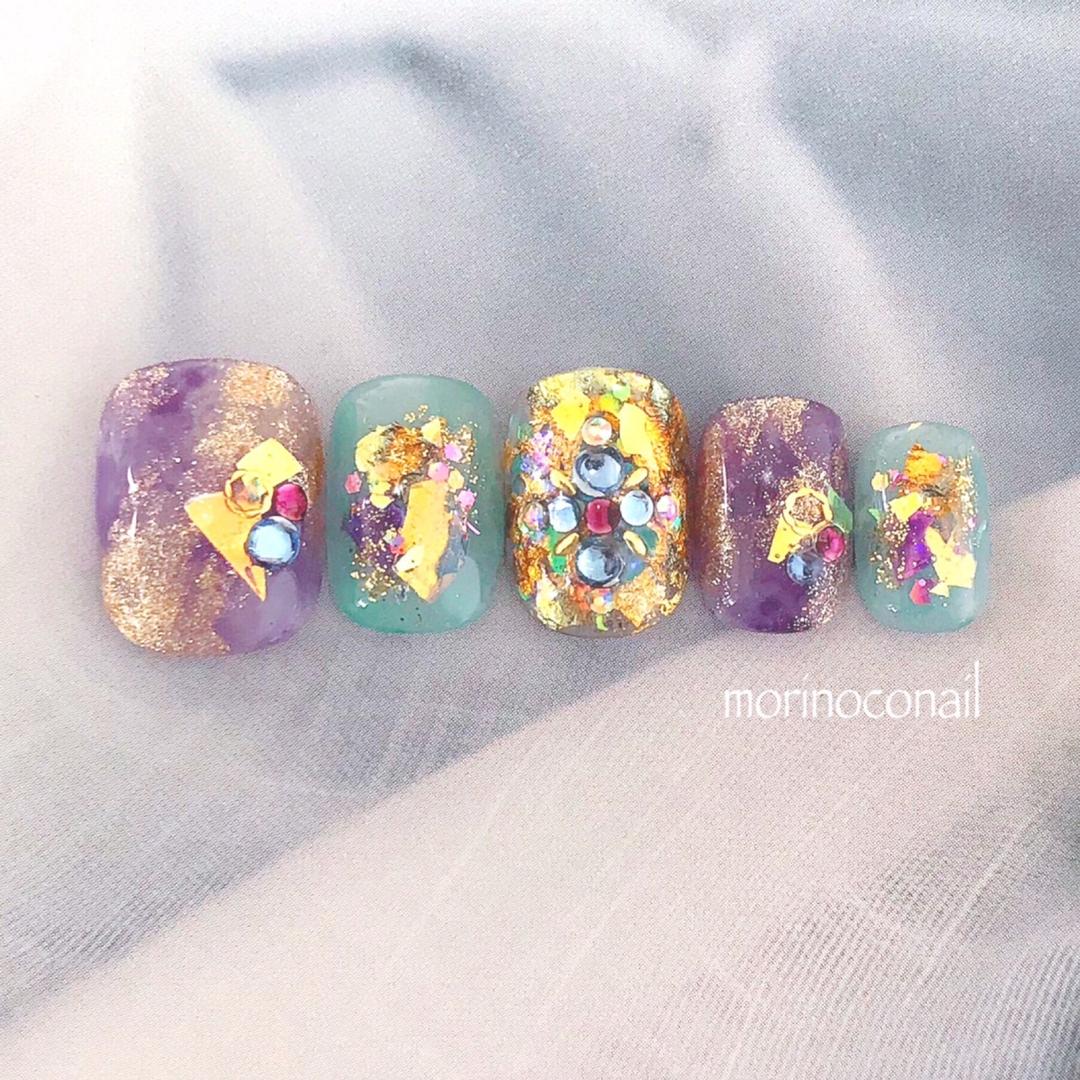 morinoco_nailさんのネイルデザインの写真。テーマは『アラジン、アラジンネイル、梅雨、梅雨ネイル、ディズニーネイル、ディズニー、ジャスミン、キャラクターネイル、ジャスミンネイル』