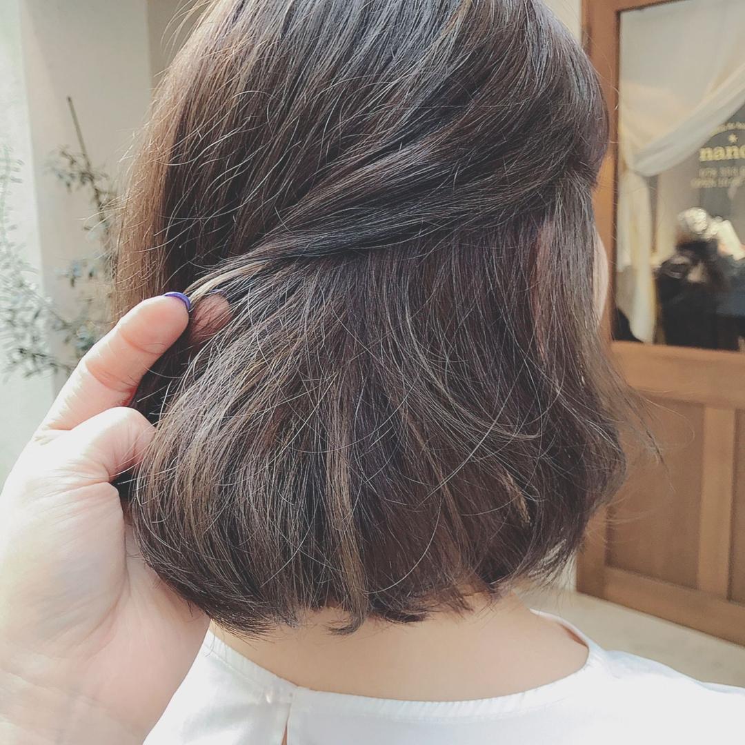 浦川 由起江さんのヘアスタイルの写真。テーマは『ボブ、ハイライト、マットグレージュ、外国人風カラー、ケアブリーチ、スロウカラー、プライベートサロン、nanon』
