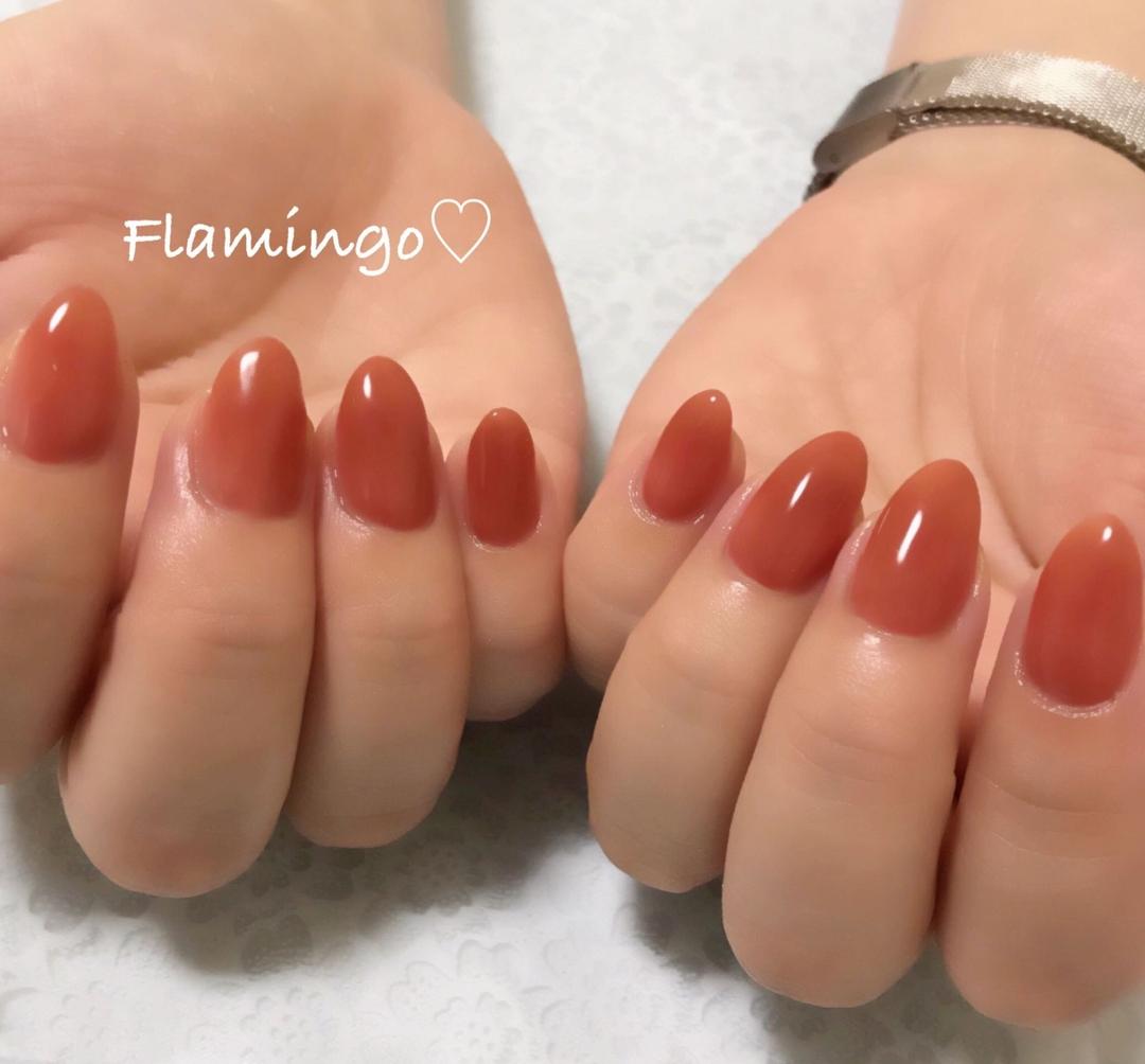 Flamingo♡さんのネイルデザインの写真。テーマは『ネイル、ジェル、ワンカラー、シンプルネイル、大人ネイル、上品ネイル、シアーネイル、ジューシーカラー、テラコッタカラー、テラコッタネイル、テラコッタ、夏ネイル、トレンドネイル、越谷、越谷ネイルサロン』