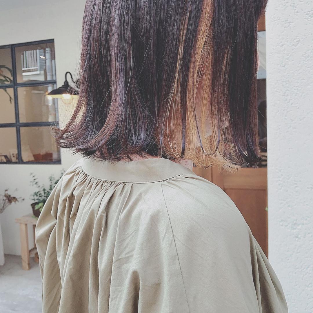 浦川 由起江さんのヘアスタイルの写真。テーマは『切りっぱなしボブ、ボブ、インナーカラー、プライベートサロン、nanon』