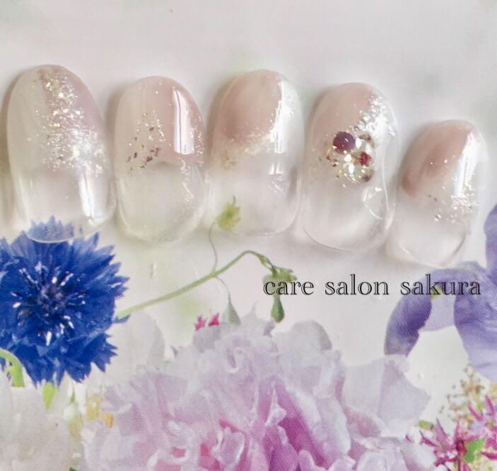 ケアサロン 咲くらさんのネイルデザインの写真。テーマは『愛媛県、松山市、ネイルサロン、咲くら、ジェルネイル、シェラック、ペディキュア、春ネイル、夏ネイル、秋ネイル、冬ネイル、大街道、パラジェル』