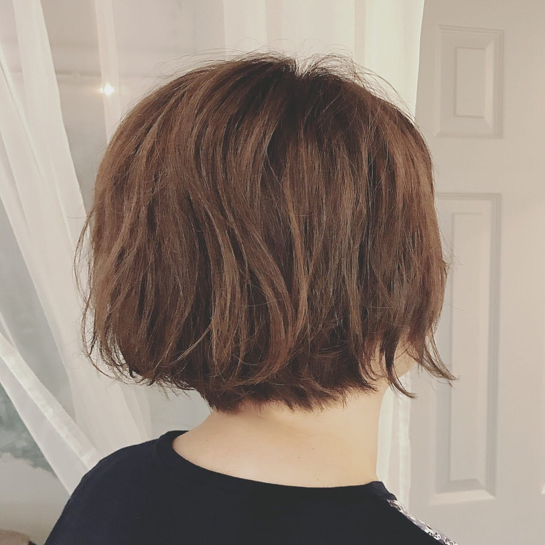 浦川 由起江さんのヘアスタイルの写真。テーマは『ボブ、ゆるふわパーマ、プライベートサロン、nanon』