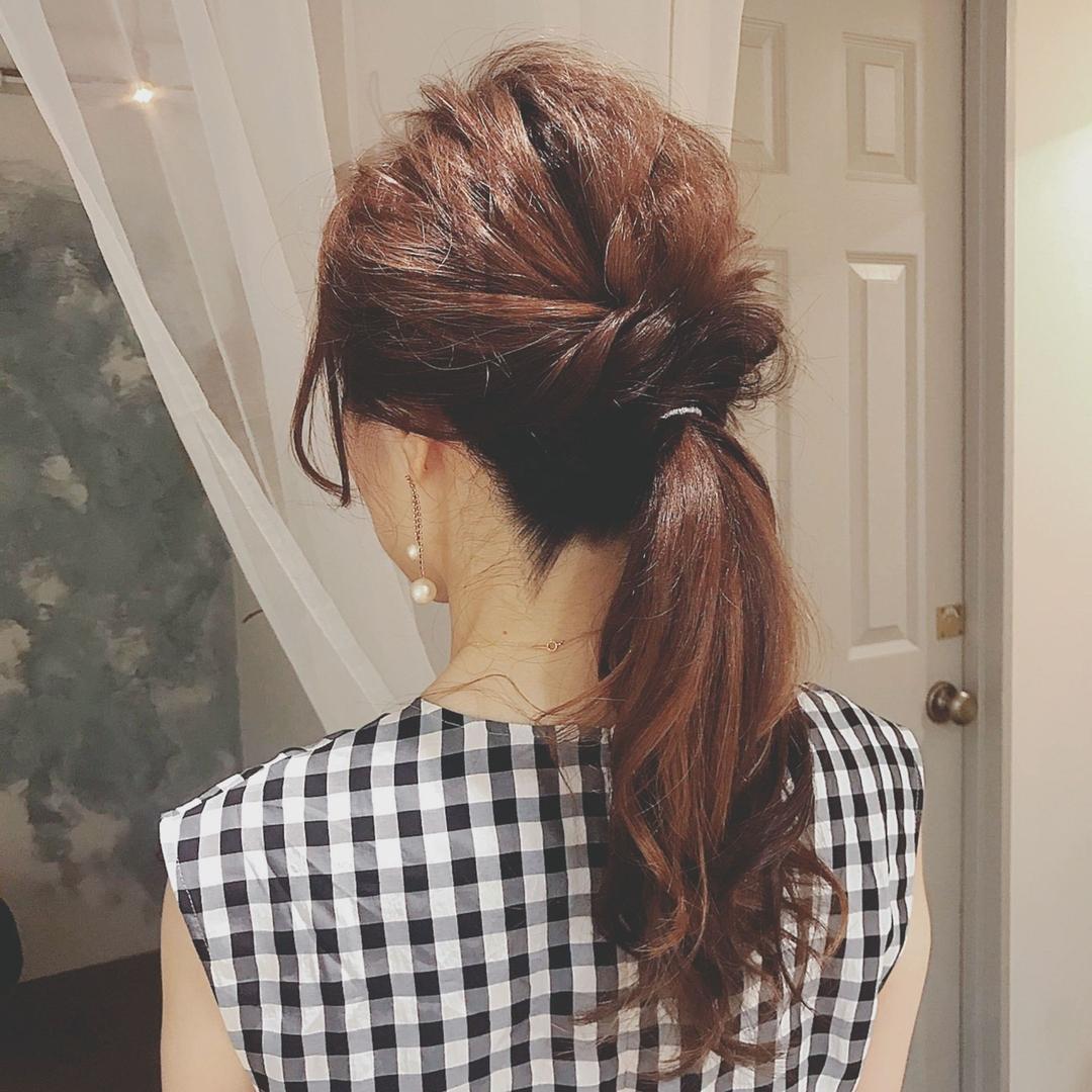 浦川 由起江さんのヘアスタイルの写真。テーマは『ヘアアレンジ、ポニーテール、ローポニー、プライベートサロン、nanon』