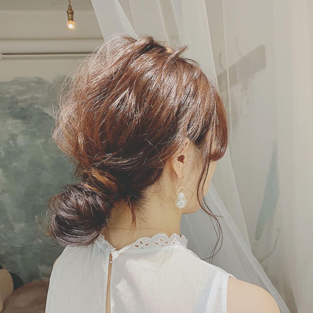 浦川 由起江さんのヘアスタイルの写真。テーマは『ヘアアレンジ、おだんごヘア、下目おだんご、プライベートサロン、nanon』