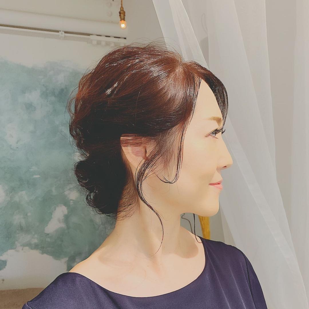 浦川 由起江さんのヘアスタイルの写真。テーマは『ヘアアレンジ、大人シンプルアレンジ、列席ヘア、プライベートサロン、nanon』