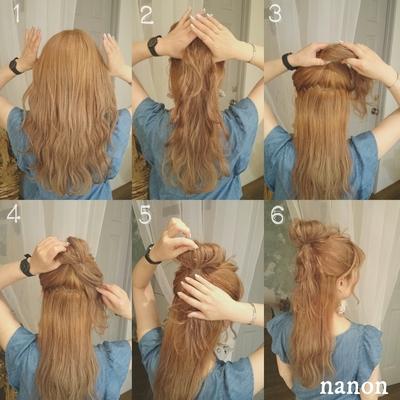 《解説》 ①初めの構え。 両耳上に親指をあてる。 ②そのまま親指をギザギザさせながら後頭部まで親指を移動させる。 ③上の髪を結ぶ。 ④最後の毛先は出さずにそのまま。 ⑤お団子部分の髪を少しずつ引っぱって崩す。 ⑥完成でーす 少々のボサッと感はご愛嬌 ボブでもミディでもできる ヘアアレンジです