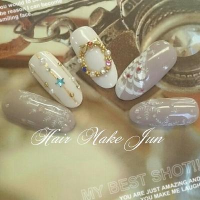 #nail2016w #ジェルネイル#ハンドネイル#クリスマスネイル#雪の結晶#冬デザイン