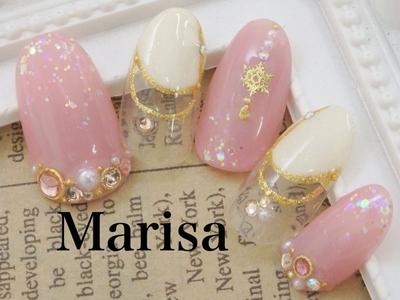 #nail2016w#marisa#マリサ#池袋#東京#結晶ネイル#ピンクネイル#フレンチ#ラメ#パールネイル#ネイル