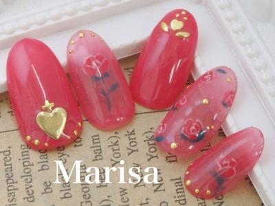 #nail2016w#マリサ#marisa#ネイル#池袋#東京#アートネイル#ハート#薔薇#あか#シースルーネイル