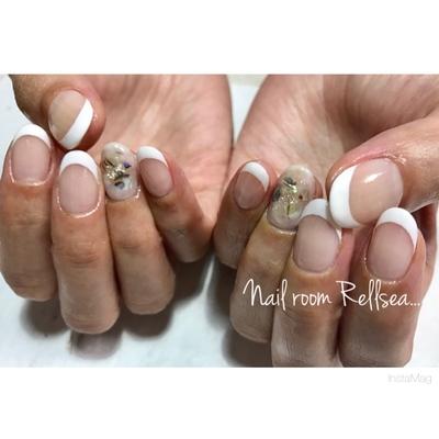 #jel#nail#nailist#nails#nailart#ジェル#ネイル#ネイリスト#フレンチ#奥行きシェルアート#狭山市#プライベートサロン