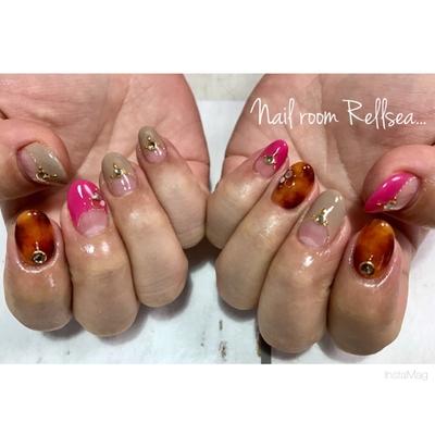 #jel#nail#nailist#nailstagram #nailart #nails #rellsea #ジェル#ネイル#ネイリスト#フレンチ#べっ甲ネイル#パーツ#狭山市#プライベートサロン