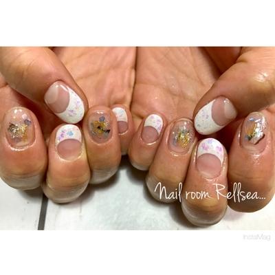 #jel#nail#nailist#nailstagram #nailart #nails #rellsea #ジェル#ネイル#ネイリスト#フレンチ#乱切りホロ#パーツ#狭山市#プライベートサロン