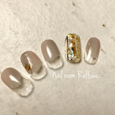 #jel#nail#nailist#nails#ジェルネイル#ネイル#ネイリスト#塗りかけ#シェル#クリアネイル#狭山市