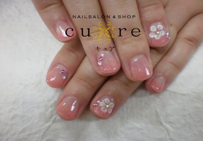 #ピンク#ショート#グラデーション#3D#花#フラワー#ネイルサロンCure#小松島#徳島