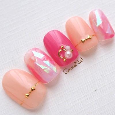 #ピンク #ピンクネイル #ホログラム #春ネイル #夏ネイル #横浜ネイルサロン #反町ネイルサロン #GraceNail