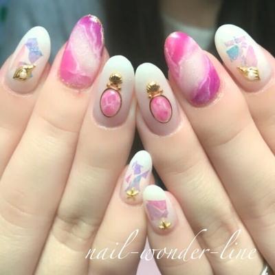 #天然石ネイル #ピンク #パープル #ビジューネイル #シェル #パール #春ネイル #夏ネイル
