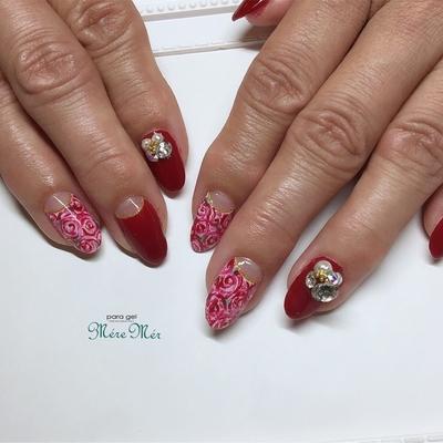 自爪を削らないパラジェル#入学式ネイル #お花 #春ネイル #スワロフスキー #ビジュー #ビジューネイル #薔薇ネイル #薔薇 #3Dアート
