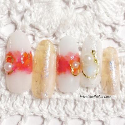 . #design#sample#春夏#nail#nailart #gel#ニュアンスネイル#タイダイ #マーブル#ホイルアート#ブローチ #個性派#Nailbook#tredina#nailist #奈良#自宅サロン#お家ネイル#Luce.