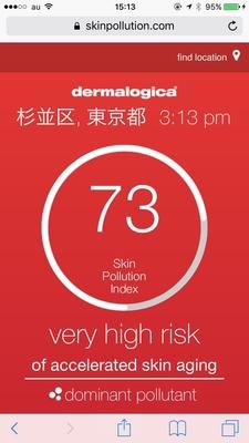 今日の東京杉並区の大気汚染指数 危険️のレベルに  体の健康には敏感な人でもお肌の健康に敏感な人は意外と少ない事実 お肌の健康の見直しを〜