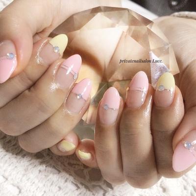 . #お客様ネイル#nail#nailart #フレンチ#パステルカラー #春#spring#大人可愛い#gel #simple#nailistagram#奈良 #自宅サロン#お家ネイル#Luce.