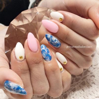 . #お客様ネイル#nail#nailart#gel #nailstagram#タイダイ#design #denim#大人ネイル#大人可愛い #Nailbook#tredina#奈良#お家ネイル #自宅サロン#Luce.#美爪#艶