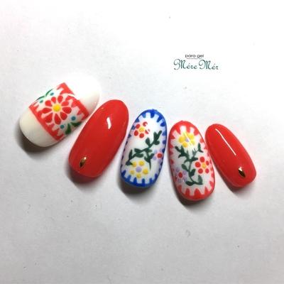 #お花 #春 #パステルカラー #春ネイル2017 #刺繍ネイル#赤#刺繍