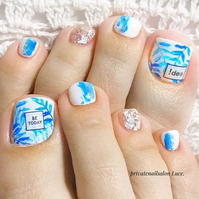 #mynail#nail#nailart#foot#gel #ボタニカル#タイダイネイル #ホイルアート#text#tag#シール #Nailbook#tredina#セルフネイル #奈良#自宅サロン#お家ネイル#Luce.