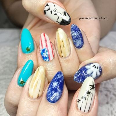 . #nail#nailart#mynail#change #gel#セルフネイル#casual #Disney#キャラクターネイル #ミッキー#ミニー#vintage #America#国旗#木目柄# #ヤシの木#palmtree#denim #3D#Nailbook#tredina#奈良 #お家ネイル#自宅サロン#Luce.