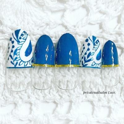 . #nail#nailart#design#sample #ペイズリー#手描き#フレンチ #大人ネイル#indigo#ethnic #nailistagram#Nailbook#tredina #奈良#自宅サロン#お家ネイル#Luce.