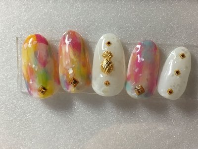 #pepesnail #nail #nailart #nailstagram #gelnail #nails #paragel #ネイル #ネイルアート #手描きアート#夏デザイン#サンプルチップ #ハンドネイル #フットネイル #ネイルデザイン