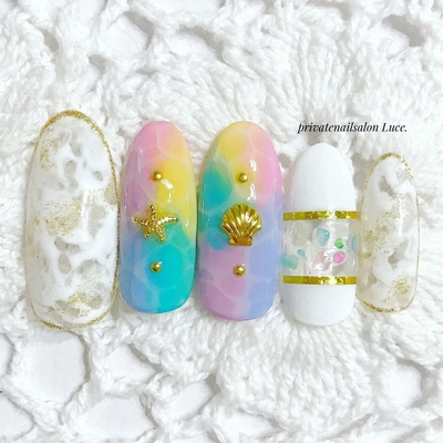 . #nail#nailart#gel#sample#夏 #design#summer##colorful #マーブル#shell#nailistagram #Nailbook#tredina#nailist#奈良 #お家ネイル#自宅サロン#Luce.