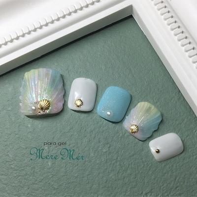 #nails #ショートネイル #トレンド #オーロラ #ネイル #タイダイ #ヒトデ #鱗#人形の鱗