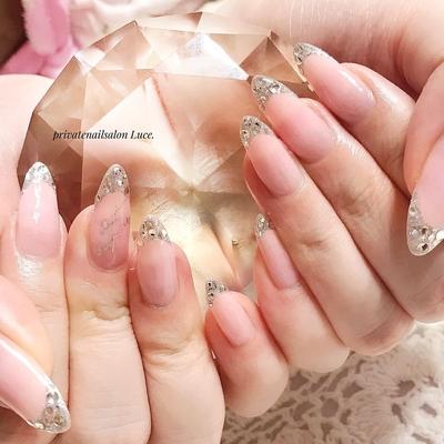 . #nail#nailart#バーチャルフレンチ #pink#gradation#stone#gel #自爪#long##nailistagram #Nailbook#tredina#nailist#奈良 #自宅サロン#お家ネイル#Luce.