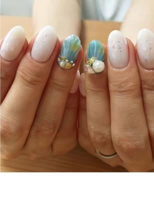 #pepesnail #nail #nailart #nailstagram #nails #人魚の鱗 #人魚の鱗ネイル #ageha #ageha先生 #夏デザイン #ネイル #ネイルアート