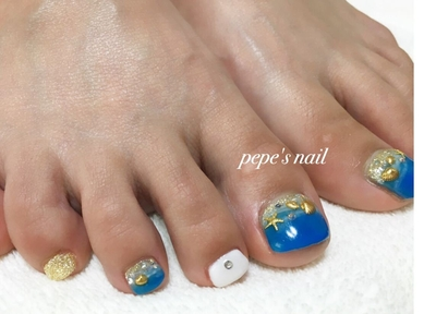 #pepesnail #nail #nails #nailart #nailstagram #footnail #gelnail #ネイル#ネイルアート#フットネイル#サンプルから#夏ネイル#海#ジェルネイル