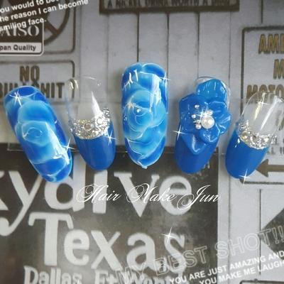 #ブライダル#ブライダルネイル#ブルー#フレンチネイル#パーティー#手描きアート#フラワーネイル#HairMakeJun#3Dアート