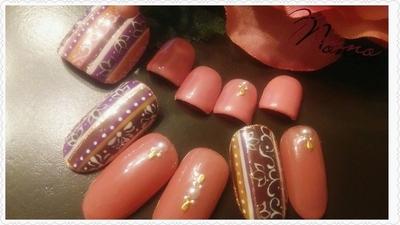 秋色エスニック  #秋ネイル #新宿 #西新宿 #パラジェル #新宿ネイルサロン #ジェルネイル#フットジェル #エスニック