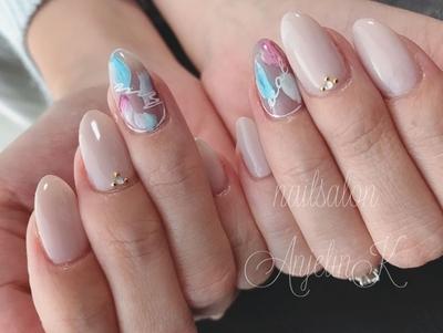 花びらアート♡ #nail #nailart #AnjelinK#ネイル#シンプルネイル