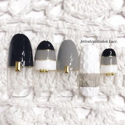 . #sample#design#nail#nailart#💅 #冬ネイル#ニットネイル #シンプル#フレンチ#モノトーン #gray#black#Nailbook#tredina #nailist#nailistagram#奈良 #自宅サロン#お家ネイル#Luce.
