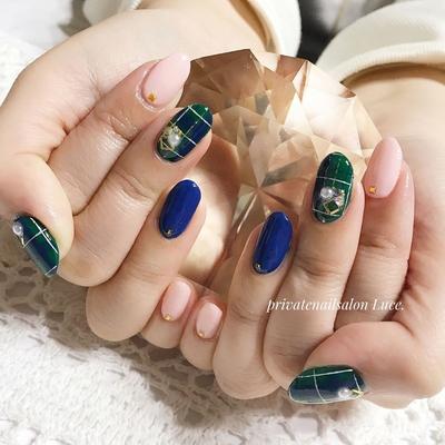 . #お客様ネイル#nail#nailart#💅 #大人ネイル#大人可愛い#チェック #navy#pink#green#ワンカラー #埋め尽くし#Nailbook#tredina #nailist#nailistagram#奈良 #自宅サロン#お家ネイル#Luce.