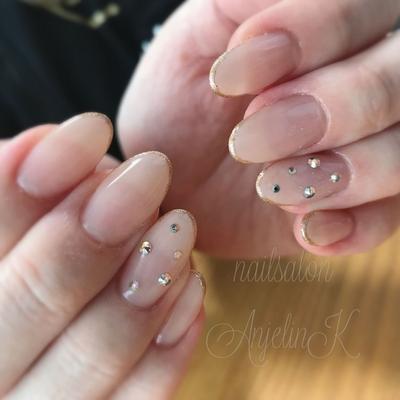 #ヌーディーネイル#AnjelinK#nails#東広島#東広島ネイル#スキニーフレンチ#グラデーションネイル