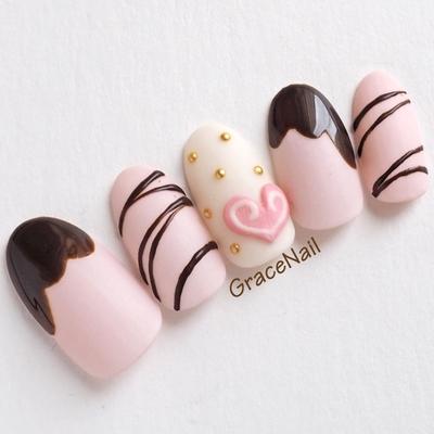 #バレンタインネイル #バレンタイン #チョコレートネイル #チョコネイル #マットネイル #ハート #ピンクネイル