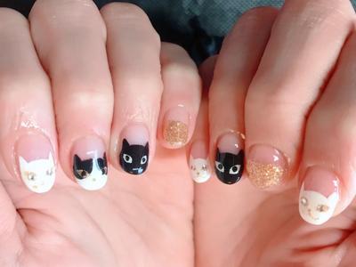 ねこちゃんネイル♡オールハンドペイント #ハンドペイント #猫ネイル