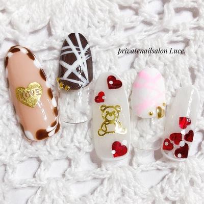 #ネイル #ネイルチップ #ジェル #ジェルネイル #バレンタイン #valentine #sweets #スイーツ #お菓子 #チョコ #chocolate #ハート  #バレンタインネイル #Luce.
