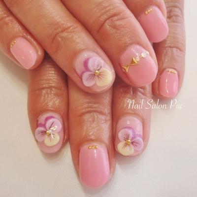 #パンジー #春ネイル #フラワー #ピンク