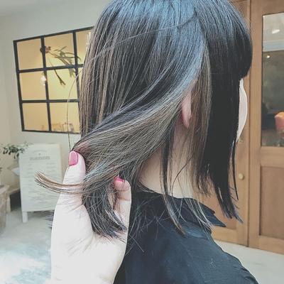 #インナーカラー  #暗髪  #切りっぱなしボブ  #プライベートサロン
