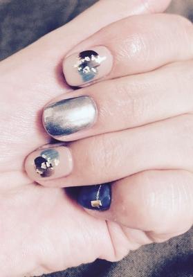 my  nail♡  #ミラーネイル#ネイビー#金箔